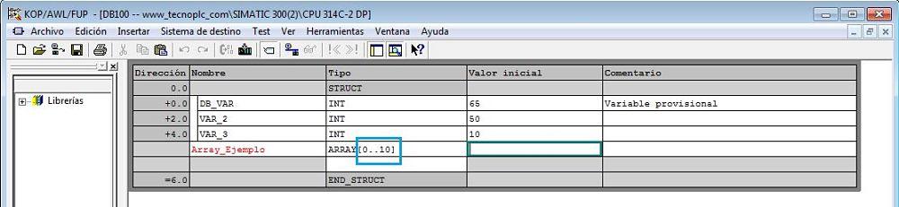 Array de estructura Step7 con una dimensión de 10 datos