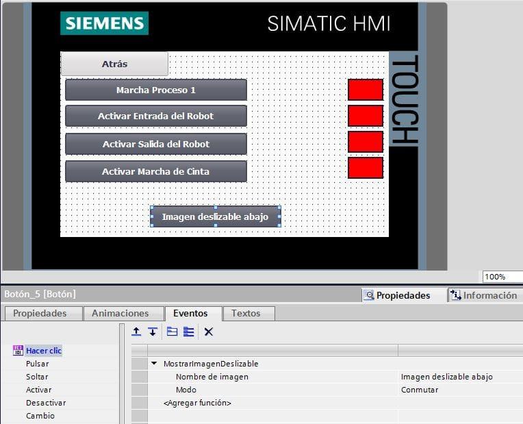 Imagen deslizable TIA Portal en pantallas configura paso a paso