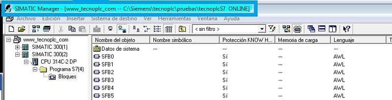 Color característico para indicar que estamos en el proyecto Online de Step7