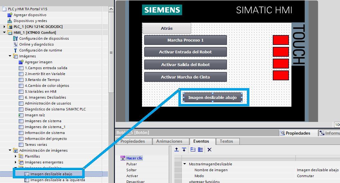 Crear botón con el evento automáticamente al desplazar la imagen a la pantalla.