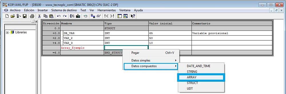 Crear un Array dentro de un DB para crear un array de estructura Step7