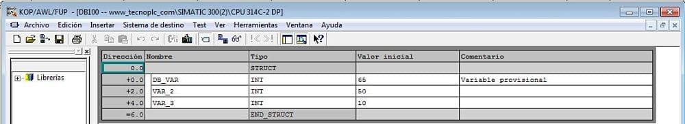 DB de datos en Step7 con varias variables de distinto Tipo de datos