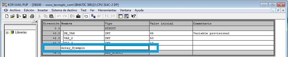 Definir el nombre de la variable dentro del DB en Step7
