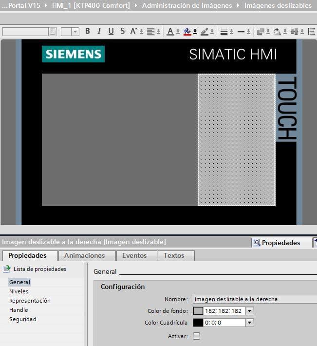 Imagen que se desplaza desde la derecha en la pantalla Siemens.