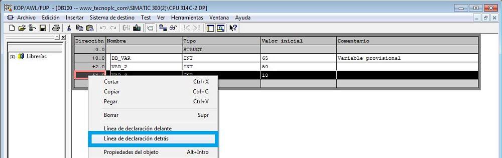 Insertar nueva línea dentro del DB de datos en Step7