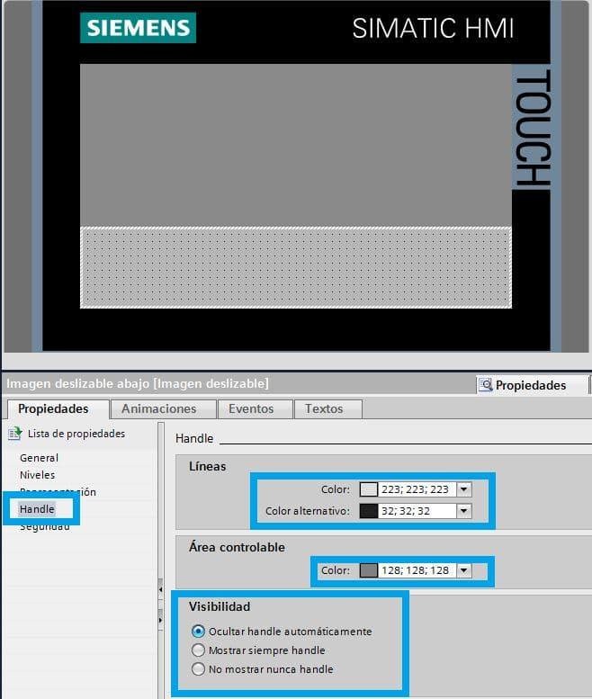 Propiedades de visibilidad para la imagen deslizable TIA Portal en la HMI.
