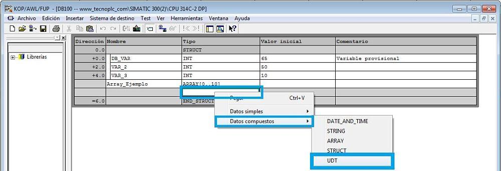 Seleccionar el Array de estructura Step7 en el tipo de datos