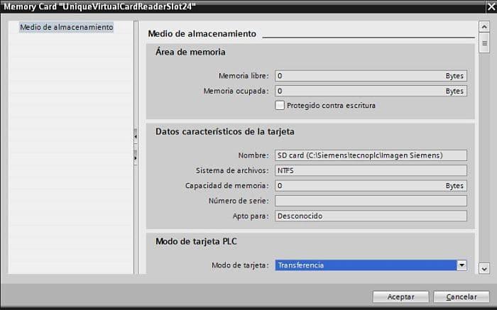 Seleccionar modo de transferencia para el lector virtual al grabar programa TIA Portal en carpeta
