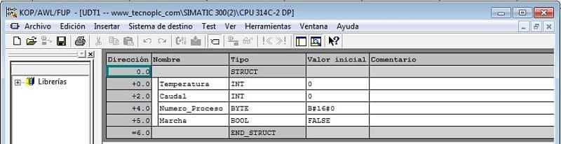 UDT creado en Step7 con variables de tipo INT y BYTE y BOOL