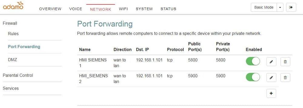 Abrir puertos en el Router para conectar smartphone a pantalla HMI Siemens