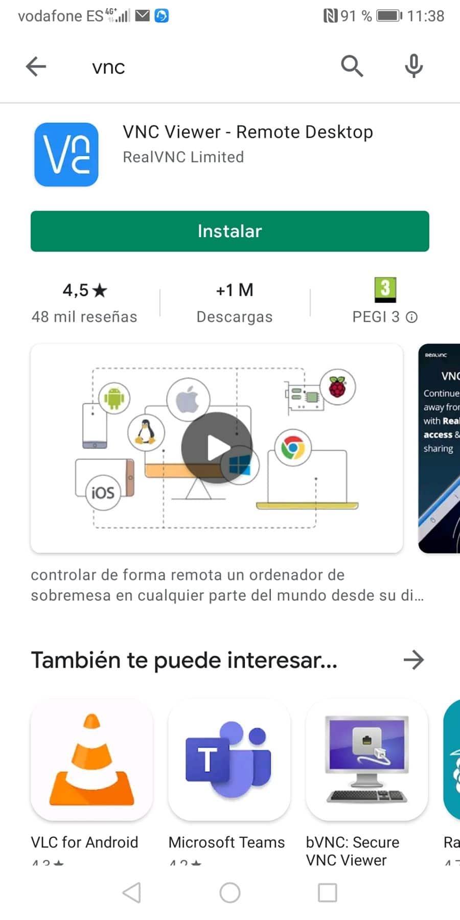 Buscar VNC Viewer en el smartphone para descargar