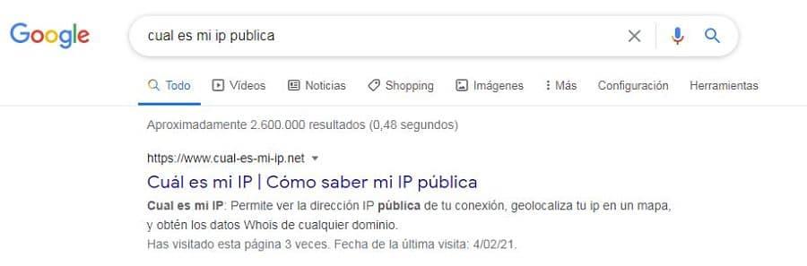 Buscar cual es mi dirección de IP Pública