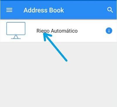 Conectar smartphone a pantalla HMI pulsando sobre el icono del dispositivo creado