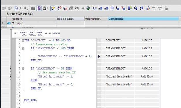 FOR SCL TIA Portal cómo utilizar bucles paso a paso al detalle