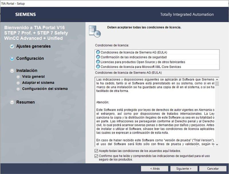 Aceptar las condiciones de seguridad y licencia de Siemens