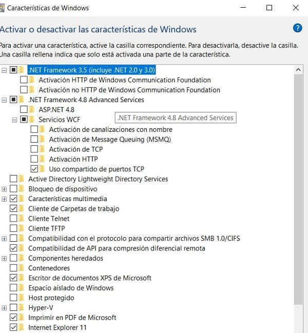 Activar opciones de .NET de Windows para instalar TIA Portal V16.
